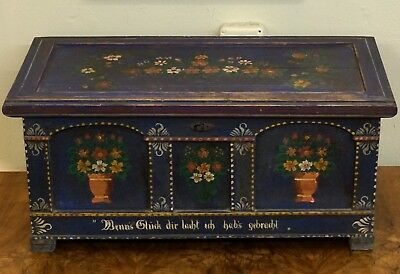 Antique German Black Forest Wood Carving Trunk w/ Candlebox Blue & Flowers c1880