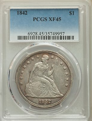 1842 US Seated Liberty Silver Dollar $1 - PCGS XF45