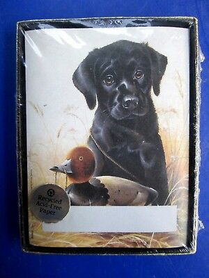 VTG NEW Black Labrador Retriever w/Decoy Bookplates Labels Antioch Publishing