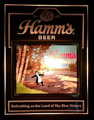 Hamm's Beer LIGHT UP SIGN With BEAR TESTING THE WATER WITH HIS TOES 1984