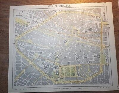 "Rare Original 19thC Letts 1889 Plan of Brussels  - City Map - Tramways 16"" x 14"""