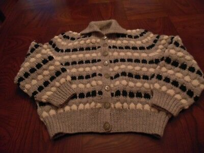 darling vintage hand knit sweater, child or small adult, grey, black and off whi