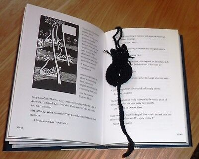 CAT BOOKMARK: Hand Crocheted Black Cotton, Beaded Loop