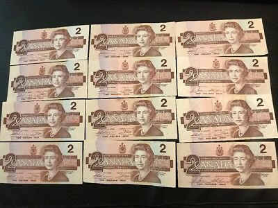 Qty 12 Canadian 1986 2 Dollars Bills Circulated Vintage (Very Good Condition)