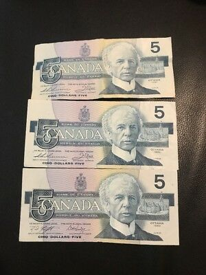 Qty 3 Canadian 1986 5 Dollars Bill Circulated(Good Condition) Vintage