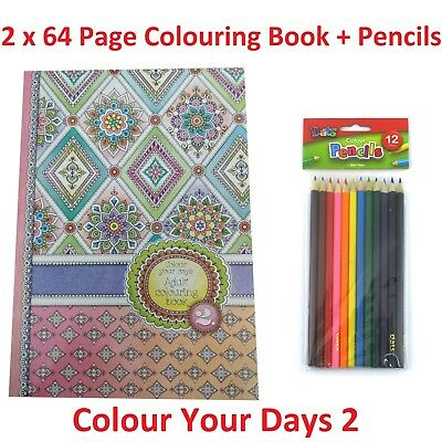 2 x Colour Your Days Adult Colouring Book + 12 Pk Pencils Relaxing Fun 64 Pages