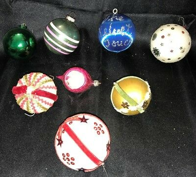 Vintage Lot of 9 Hanging Christmas Tree Ornaments Decorations Some Homemade