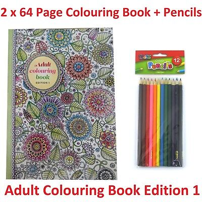 2 x 64 Pg Adult Colouring Book Edition 1 + 12 Pk Pencils Relaxing Fun Artistic