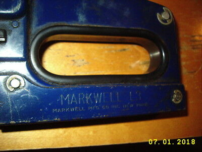Vintage Markwell L3 tacker stapler gun excellent condition works no staples/box
