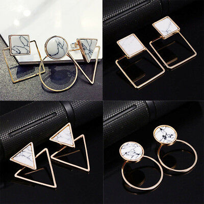 Lady Geometric Round Triangle Square Marble Pattern Earrings Punk Ear Stud Gift