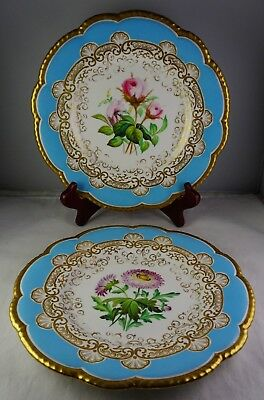 Pair Of Grainger Worcester Antique Floral Heavy Gold Early Cabinet Plates