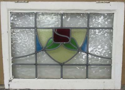"MID SIZED OLD ENGLISH LEADED STAINED GLASS WINDOW Floral Shield 24.25"" x 17.75"""