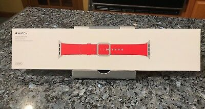 New SEALED Genuine Apple  Watch Band 38mm Red Leather Classic Buckle Authentic