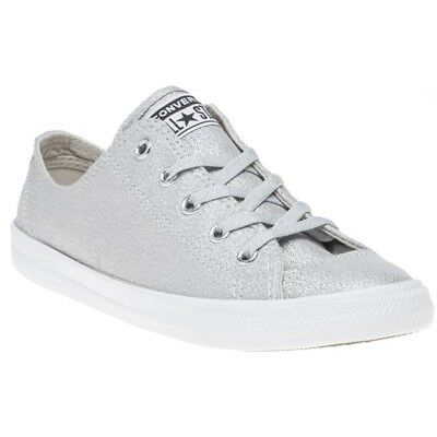 New Womens Converse Metallic Grey Silver All Star Dainty Ox Canvas Trainers Lace