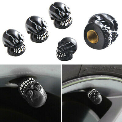 4pcs Skull Skeleton Head Car Wheel Tyre Tire Air Valve Stem Cap Dust Cover Gold