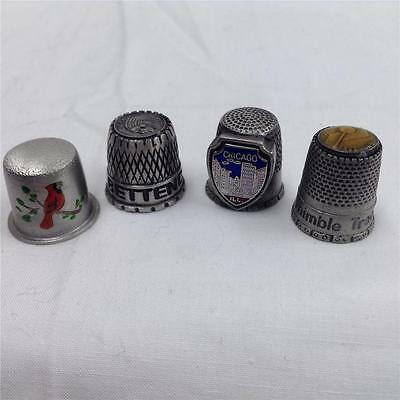 VINTAGE Souvenir Thimbles (Pewter) Set of 4 ~ Chicago, Iowa, Tenn, Cardinal GOOD