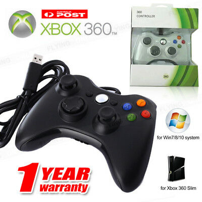 New Wired Controller for Windows for Xbox 360 Console PC USB Black White