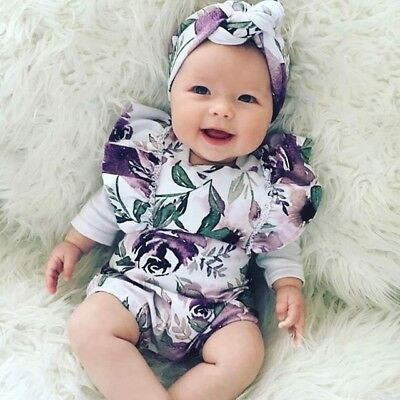 Newborn Baby Girls Romper Bodysuit Jumpsuit Playsuit Summer Clothes Outfit Set