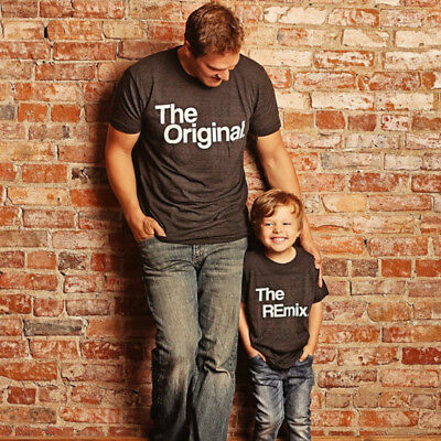 US STOCK Family Matching Outfits Father Son Baby Kid Shirt Cotton T-Shirt Tops