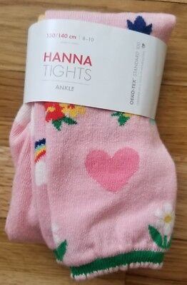 NWT HANNA ANDERSSON PINK HEART FLORAL RAINBOW Ankle Tights 130 140 8 10