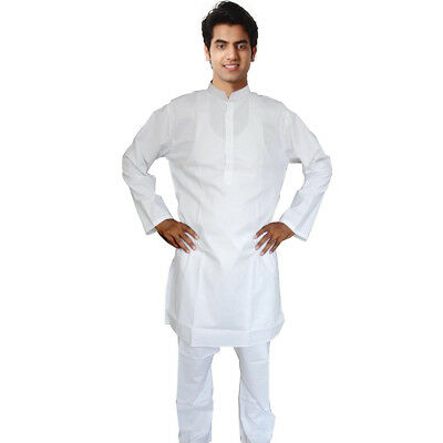 White Cotton Kurta Pajama For Men Yoga Indian Clothing Diwali