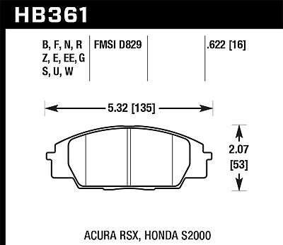 Disc Brake Pad Set-Si Front Hawk Perf HB361N.622