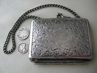 Antique Victorian Art Nouveau Floral Silver Metal Fabric Card Case Purse MW