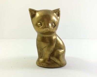 Artwork Cat Brass Figurine Vintage Style Etched Solid Small Statue Decoration