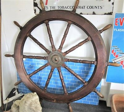 Large wooden Ships steering wheel with brass centre, english, c1880's