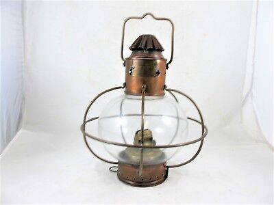 White Light ships oil lamp with original round shade c 1930's