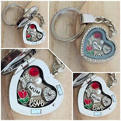 Personalised heart locket keyring gift for mum sister nan Birthday Xmas gifts 18