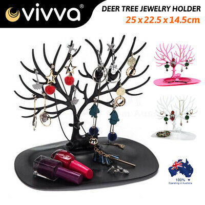 Retro Bird Tree Stand Book Jewelry Earrings Necklace Ring Rack Holder Display