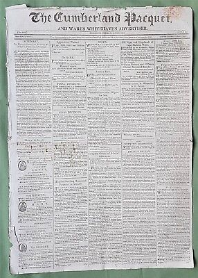 Fascinating early 18th century Newspaper, The Cumberland Pacquet,Whitehaven 1817