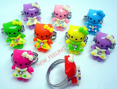 Wholesale jewelry 50 pcs Mixed lovely Kity Resin Children's Adjustable Rings RG4