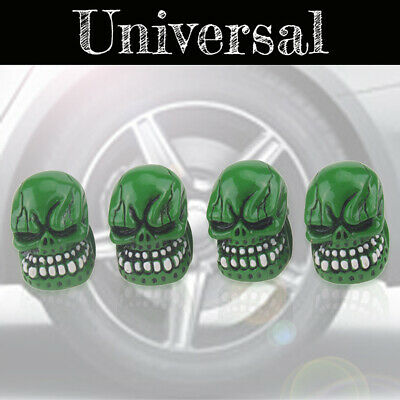 4pcs Skull Skeleton Head Car Wheel Tyre Tire Air Valve Stem Cap Dust Cover Green