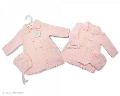 Baby Girls Spanish Style Romany Knitted Pink Cardigan Matinee Coat & Bonnet AW18