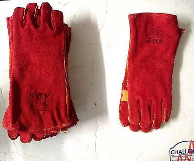 SWP Stiched Leather Welding Glives/ Gauntlets Joh Lot 14 Pairs Size 10