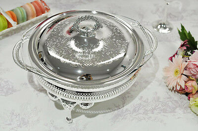 Silver Plated Round Serving Dish/ Casserole with Lid-Warmer Made in UK GIFT