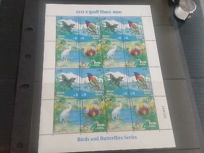 Nepal 1996 Sg 640-643 Butterflies And Birds Sheet  Mnh