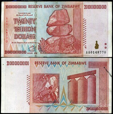 Zimbabwe 20 Trillion Dollars 2008 P 89 Used / Circulated In 100 Trillion Series