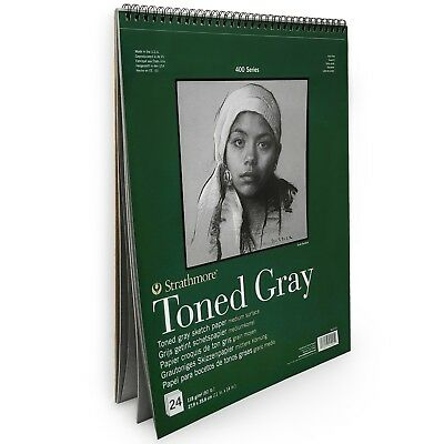 """Strathmore 400 Series Wiro Toned Gray Sketchbook – 24 Sheets – 11 x 14"""" –412 111"""
