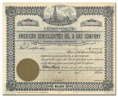 American Consolidated Oil & Gas Company Stock Certificate