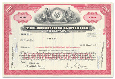 Babcock & Wilcox Co Stock Certificate (Three Mile Island Nuclear Reactor)