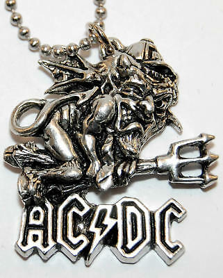 Vintage Necklace AC/DC Angus Young Devil Pendant Original NEW old stock - 1992