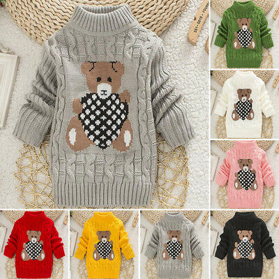 New Toddler Baby Kids Girls Loose Baggy Knitted Sweater Jumper TOP AGE 12-36M