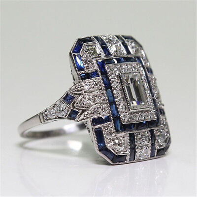 Antique Art Deco Large 925 Jewelry Silver Blue Sapphire & Diamond Ring size 6-10