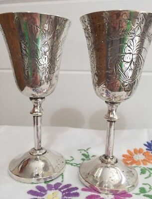 Antique Vintage Goblets Silver 'Epns' Hand Etched With Thistles X 2