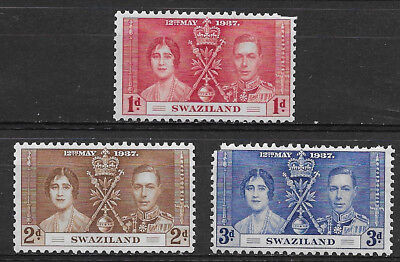 Swaziland , 1937 , Coronation ,  Set Of 3 Stamps , Perf , Mnh