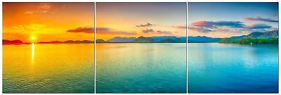 Panoramic Sunset Beach Canvas Wall Art Decor - 24x24 3 Piece Set (Total 24x72)