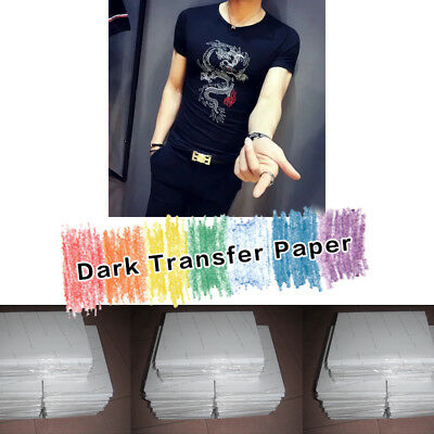 A4 Iron on Paper Heat Transfer Paper Inkjet Dark Light Cotton T-shirt 25 Sheets
